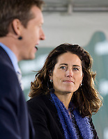 ESPN announcer Julie Foudy looks over at fellow commentator Rob Stone. The Houston Dynamo defeated the New England Revolution 2-1 in the finals of the MLS Cup at RFK Memorial Stadium in Washington, D. C., on November 18, 2007.