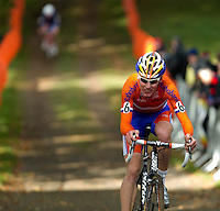 03 NOV 2012 - IPSWICH, GBR - Mike Teunissen (NED) of the Netherlands makes his way round the course during the Under 23 Men's European Cyclo-Cross Championships in Chantry Park, Ipswich, Suffolk, Great Britain (PHOTO (C) 2012 NIGEL FARROW)