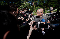 team manager Sir David Brailsford talking to the press (pre-stage) the day after Chris Froome's serious accident during the TT recon<br /> <br /> Stage 5: Boën-sur-Lignon to Voiron (201km)<br /> 71st Critérium du Dauphiné 2019 (2.UWT)<br /> <br /> ©kramon