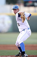 Gerrit Cole #12 of the UCLA Bruins pitches against the Oregon State Beavers at Jackie Robinson Stadium in Los Angeles,California on April 29, 2011. Photo by Larry Goren/Four Seam Images
