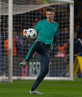 Goalkeeper Bradley Collins of Chelsea warms up during the UEFA Champions League match between Chelsea and Maccabi Tel Aviv at Stamford Bridge, London, England on 16 September 2015. Photo by Andy Rowland.