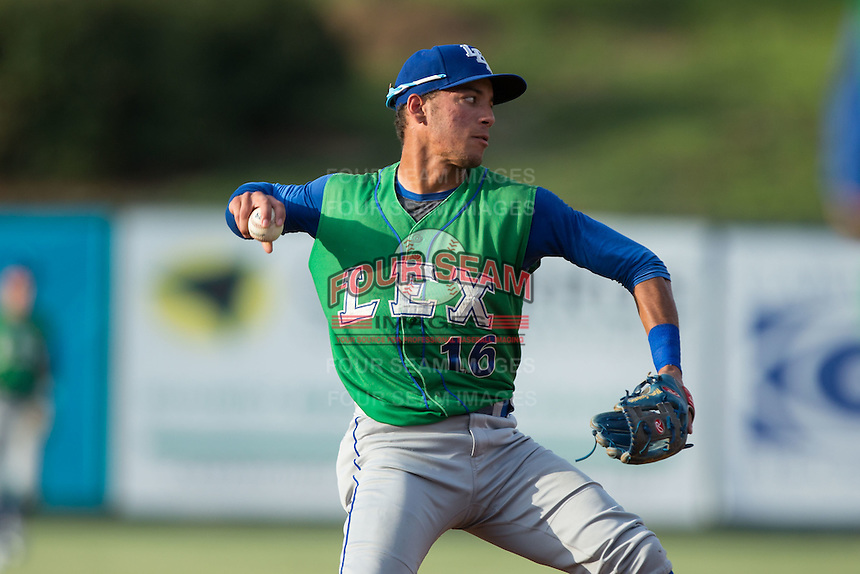 Lexington Legends shortstop Marten Gasparini (16) makes a throw to first base against the Kannapolis Intimidators at Kannapolis Intimidators Stadium on July 14, 2016 in Kannapolis, North Carolina.  The Kannapolis Intimidators defeated the Lexington Legends 4-2.  (Brian Westerholt/Four Seam Images)