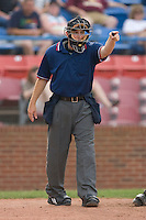 Home plate umpire Brent Rice appeals a check swing to the first base umpire during a Carolina League game between the Wilmington Blue Rocks and the Winston-Salem Dash at Wake Forest Baseball Park June 14, 2009 in Winston-Salem, North Carolina. (Photo by Brian Westerholt / Four Seam Images)