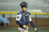 Danville Braves catcher William Contreras (24) on defense against the Burlington Royals at Burlington Athletic Stadium on August 15, 2017 in Burlington, North Carolina.  The Royals defeated the Braves 6-2.  (Brian Westerholt/Four Seam Images)