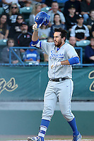 Austin Bush (44) of the UC Santa Barbara Gauchos celebrates after hitting a home run during a game against the Cal State Long Beach Dirtbags at Blair Field on April 1, 2016 in Long Beach, California. UC Santa Barbara defeated Cal State Long Beach, 4-3. (Larry Goren/Four Seam Images)
