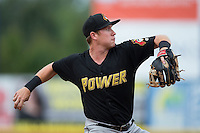 West Virginia Power third baseman Jordan Luplow (16) makes a throw to first base against the Hickory Crawdads at L.P. Frans Stadium on August 15, 2015 in Hickory, North Carolina.  The Power defeated the Crawdads 9-0.  (Brian Westerholt/Four Seam Images)