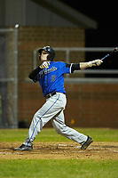 Carson Arnold (18) of the Lake Norman Wildcats follows through on his swing against the Davie War Eagles at Davie County High School on March 7, 2018 in Mocksville, North Carolina.  The Wildcats defeated the War Eagles 12-0.  (Brian Westerholt/Four Seam Images)