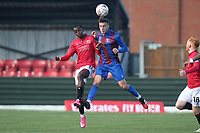 Sam Coombes of Maldon and Carlos Mendes Gomes of Morecambe during Maldon & Tiptree vs Morecambe, Emirates FA Cup Football at the Wallace Binder Ground on 8th November 2020