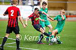 Kerry's Ronan Teahan felt the tackle from Kyle Foley of Carlow Kilkenny in the U17 League of Ireland