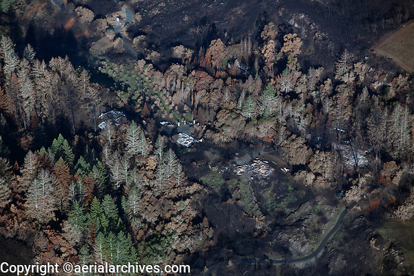 Tubbs Fire, destroyed homes in the forest, Sonoma County, California, northern California wildfires, 2017.