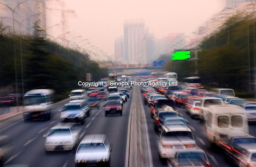 Beijing traffic during rush hour, China.
