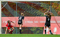 Standard scores and Niekie Pellens (71) of Eendracht Aalst and Annelies Van Loock (9) of Eendracht Aalst disappointed during a female soccer game between Standard Femina de Liege and Eendracht Aalst dames on the fourth matchday in the 2021 - 2022 season of the Belgian Scooore Womens Super League , Saturday 11 th of September 2021  in Angleur , Belgium . PHOTO SPORTPIX | BERNARD GILLET