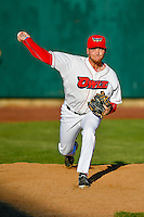 Ty Barkell (30) of the Orem Owlz warms up in the bullpen during the game against the Ogden Raptors in Pioneer League action at Home of the Owlz on June 25, 2016 in Orem, Utah. Orem defeated Ogden 4-1.  (Stephen Smith/Four Seam Images)