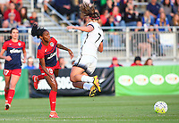 Boyds, MD - Saturday May 07, 2016: Washington Spirit forward Crystal Dunn (19) slips the ball past Portland Thorns FC midfielder Lindsey Horan (7) during a regular season National Women's Soccer League (NWSL) match at Maureen Hendricks Field, Maryland SoccerPlex. Washington Spirit tied the Portland Thorns 0-0.