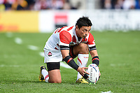 Ayumu Goromaru of Japan lines the ball up for a kick at the posts. Rugby World Cup Pool B match between Scotland and Japan on September 23, 2015 at Kingsholm Stadium in Gloucester, England. Photo by: Patrick Khachfe / Stewart Communications