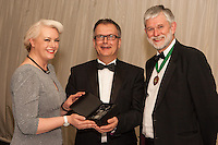 The Nottinghamshire Law Society Solicitor of the Year Derek Bambury (centre)was presented by Claire Dickerson of Blusource Legal<br /> and Society President Richard Nelson