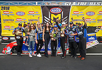 Mar 20, 2016; Gainesville, FL, USA; NHRA top fuel driver Brittany Force and funny car winner Robert Hight celebrates with family members including Ashely Force Hood , Courtney Force , Laurie Force , Mike Neff and John Force after winning the Gatornationals at Auto Plus Raceway at Gainesville. Mandatory Credit: Mark J. Rebilas-USA TODAY Sports