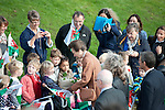 Princess Anne visits is presented with flowers by local schoolchildren as she visits Oystermouth Castle in the small village of Mumbles near Swansea UK today.