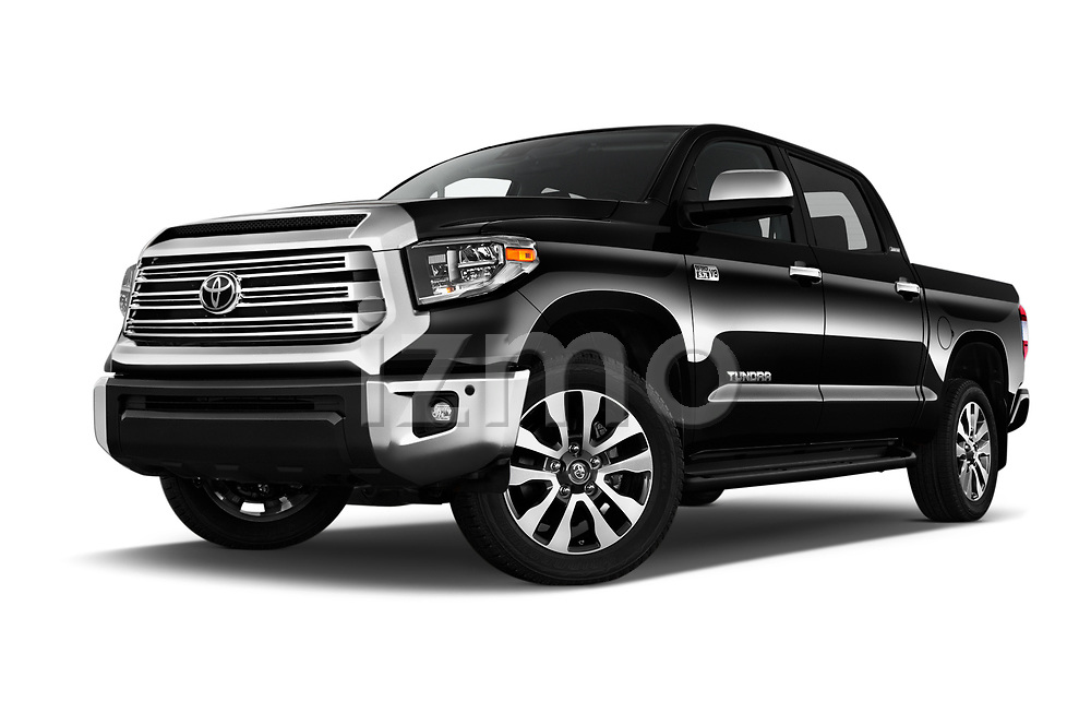 Stock pictures of low aggressive front three quarter view of 2020 Toyota Tundra Limited-5.7L-Crew-Max-Short-Bed 4 Door Pick-up Low Aggressive