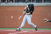 Gavin Sheets (24) of the Wake Forest Demon Deacons drives the baseball during the game against the Charlotte 49ers at Hayes Stadium on March 16, 2016 in Charlotte, North Carolina.  The 49ers defeated the Demon Deacons 7-6.  (Brian Westerholt/Four Seam Images)