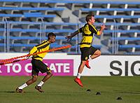 05.01.2018,  Football 1. Liga 2017/2018,  trainings camp of  Borussia Dortmund in Marbella in spain, Estadio Municipal de Marbella, Alexander Isak (Dortmund), Mario Goetze (Dortmund),  *** Local Caption *** © pixathlon<br /> <br /> +++ NED + SUI out !!! +++<br /> Contact: +49-40-22 63 02 60 , info@pixathlon.de