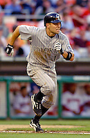 12 June 2006: Jamey Carroll, infielder for the Colorado Rockies, hustles to first during a game against the Washington Nationals at RFK Stadium, in Washington, DC. The Rockies defeated the Nationals 4-3 in the first game of the four game series...Mandatory Photo Credit: Ed Wolfstein Photo..