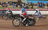 Heat 8: Ryan MacDonald (blue), Kelsey Dugard (white) and George Hunter (red)<br /> <br /> Photographer Rob Newell/CameraSport<br /> <br /> National League Speedway - Lakeside Hammers v Eastbourne Eagles - Lee Richardson Memorial Trophy, First Leg - Friday 14th April 2017 - The Arena Essex Raceway - Thurrock, Essex<br /> © CameraSport - 43 Linden Ave. Countesthorpe. Leicester. England. LE8 5PG - Tel: +44 (0) 116 277 4147 - admin@camerasport.com - www.camerasport.com