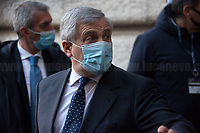 Antonio Tajani MEP (Forza Italia Party delegation).<br /> <br /> Rome, Italy. 09th Feb, 2021. Silvio Berlusconi, former Italian Prime Minister and President of Forza Italia Party arrives at the Italian Parliament to have a meeting with the designated Italian Prime Minister - and former President of the European Central Bank -, Mario Draghi. Today is the last day of Mario Draghi's consultations at Palazzo Montecitorio, meeting delegations of the Italian political parties in his attempt to form the new Italian Government.