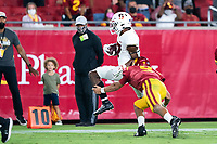 LOS ANGELES, CA - SEPTEMBER 11: Kyu Blu Kelly during a game between University of Southern California and Stanford Football at Los Angeles Memorial Coliseum on September 11, 2021 in Los Angeles, California.