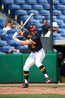 Maryland Terrapins shortstop Kevin Smith (4) at bat during a game against the Alabama State Hornets on February 19, 2017 at Spectrum Field in Clearwater, Florida.  Maryland defeated Alabama State 9-7.  (Mike Janes/Four Seam Images)