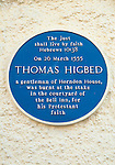 Thomas Higbed, Horndon on the Hill Essex. Blue Plaque on the Bell Inn