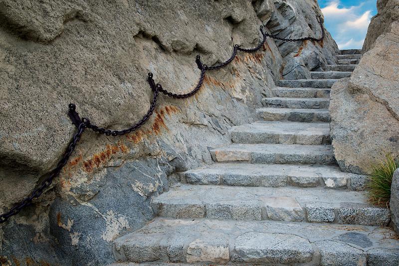 Stone step pathway at Silver Rock Golf Resort. La Quinta, California