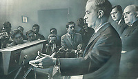 1968 FILE PHOTO - ARCHIVES -<br /> <br /> Always a fervent nationalist, Jean-Jacques Bertrand, replacing late Premier Daniel Johnson says he wants strong Quebec but not at price of sabotaging Canada. At press conferences, as above, he tends to be rhetorical and likes to dwell either on the legal or the sentimental aspects of a subject. His predecessor, Johnson, always sought to formulate his ideas his ideas in every-day terms.<br /> <br /> 1968<br /> <br /> PHOTO : Graham Bezant - Toronto Star Archives - AQP