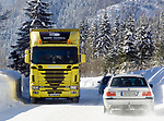 Deutschland, Bayern, Chiemgau - zwischen Ruhpolding und Reit im Winkl: geschlossene Schneedecke nach starken Schneefaellen | Germany, Bavaria, Chiemgau - between Ruhpolding and Reit im Winkl: rural road completely covered with snow after heavy snow falls