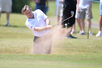 TV celebrity Bradley Walsh clears the ball out a sand bunker during the Bulmers 2018 Celebrity Cup at the Celtic Manor Resort. Newport, Gwent,  Wales, on Saturday 30th June 2018<br /> <br /> <br /> Jeff Thomas Photography -  www.jaypics.photoshelter.com - <br /> e-mail swansea1001@hotmail.co.uk -<br /> Mob: 07837 386244 -