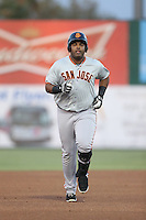 Angel Villalona (41) of the San Jose Giants runs the bases after hitting a home run during a game against the Inland Empire 66ers at San Manuel Stadium on August 26, 2015 in San Bernardino, California. San Jose defeated Inland Empire, 8-1. (Larry Goren/Four Seam Images)