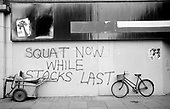 1976: squatting graffiti on Westbourne Grove. Notting Hill.