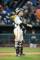 Greensboro Grasshoppers catcher Roy Morales (17) on defense against the Kannapolis Intimidators at NewBridge Bank Park on July 7, 2016 in Greensboro, North Carolina.  The Dash defeated the Pelicans 13-9.  (Brian Westerholt/Four Seam Images)