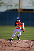 Olan MaCrae Kendrick (1) of Atascocita High School in Humble, Texas during the Baseball Factory All-America Pre-Season Tournament, powered by Under Armour, on January 13, 2018 at Sloan Park Complex in Mesa, Arizona.  (Mike Janes/Four Seam Images)