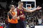 FC Barcelona's Mario Hezonja have words with the referee during Euroleague match.February 5,2015. (ALTERPHOTOS/Acero)