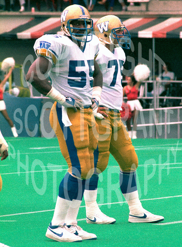 Tony Norman, Stan Mikawos, Winnipeg Blue Bombers 1985. Photo F. Scott Grant