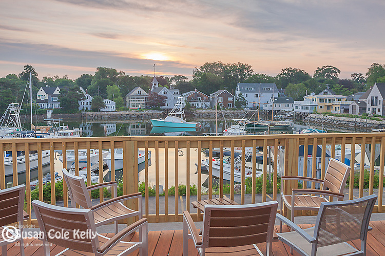Sunrise over Kennebunkport and the Kennebunk River viewed from Federal Jack's in Kennebunk, Maine, USA