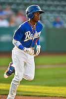 Errol Robinson (9) of the Ogden Raptors hustles down the first base line against the Grand Junction Rockies in Pioneer League action at Lindquist Field on August 25, 2016 in Ogden, Utah. The Rockies defeated the Raptors 12-3. (Stephen Smith/Four Seam Images