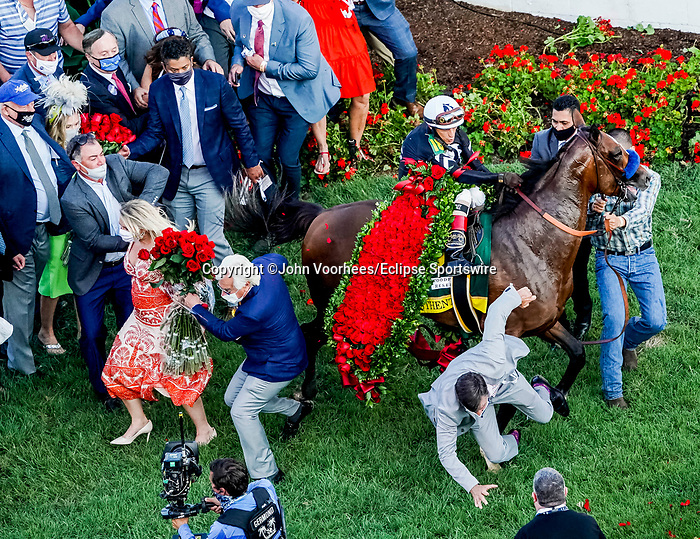September 5, 2020: Kentucky Derby winner Authentic, #18, ridden by jockey John Velazquez, freaks out in the winner's circle, taking out training Bob Baffert in the process. Baffert was uninjured. The races are being run without fans due to the coronavirus pandemic that has gripped the world and nation for much of the year, with only essential personnel, media and ownership connections allowed to attend at Churchill Downs in Louisville, Kentucky. John Voorhees/Eclipse Sportswire/CSM