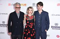 """Trevor Eve, Alice Eve and director, Jack Eve<br /> arriving for the World premiere of """"Bees Make Honey"""" at the Vue West End, Leicester Square, London<br /> <br /> <br /> ©Ash Knotek  D3314  23/09/2017"""