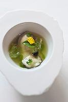 Europe/Espagne/Catalogne/Catalogne/Gérone: l'huître à la perle noire, enveloppée dans son jus, au jus de melon, pointes de concombre, céleri, pomme, gelée de citron vert, oseille des bois, fleur de melon et ficoïde à feuilles en coeur. recette des frères Roca, Le Celler de Can Roca - - Restaurant: El Celler de Can Roca à la deuxième place de la liste The World's 50 Best Restaurants