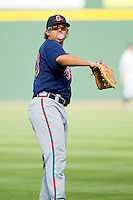 Christian Marrero #33 of the Gwinnett Braves warms up in the outfield prior to the game against the Charlotte Knights at Knights Stadium on June 3, 2012 in Fort Mill, South Carolina.  The Braves defeated the Knights 5-1.  (Brian Westerholt/Four Seam Images)
