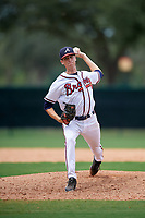 GCL Braves relief pitcher Victor Cavalieri (15) delivers a pitch during the second game of a doubleheader against the GCL Yankees West on July 30, 2018 at Champion Stadium in Kissimmee, Florida.  GCL Braves defeated GCL Yankees West 5-4.  (Mike Janes/Four Seam Images)