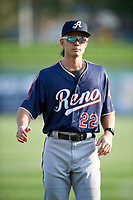 Stuart Fairchild (22) of the Reno Aces before the game against the Salt Lake Bees at Smith's Ballpark on August 24, 2021 in Salt Lake City, Utah. The Aces defeated the Bees 6-5. (Stephen Smith/Four Seam Images)