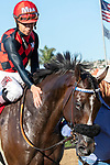 DEL MAR, CA  AUGUST 18: #1 Prince Earl, ridden by Geovanni Franco, receive congratulations after winning  the Del Mar Mile (Grade ll) on August 18, 2019 at Del Mar Thoroughbred Club in Del Mar, CA.  ( Photo by Casey Phillips/Eclipse Sportswire/CSM)